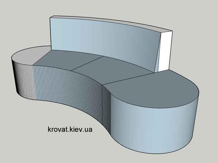 чертеж полукруглого дивана на заказ