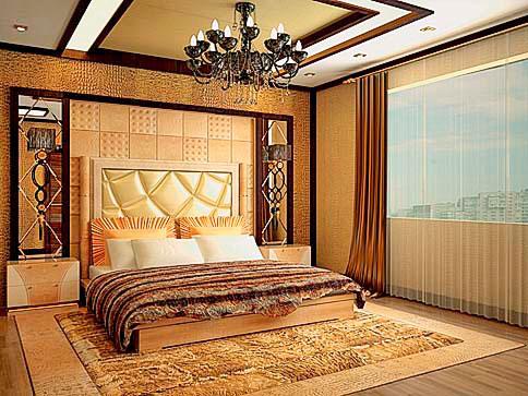 кровать с мягкой панелью на стену для спальни