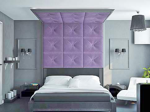 кровать с мягким панно на стену в интерьере спальни