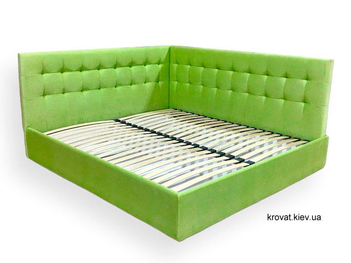 двоспальне кутове ліжко з м'яким узголів'ям на замовлення